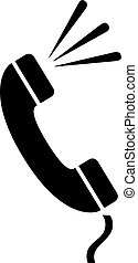 telefonkagyló, vektor, telefon, ikon