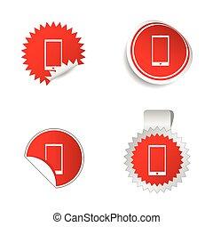 telefono, adesivo, rosso, vettore