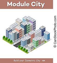 telefono, affari, grattacielo, isometrico, concetto, 3d, città, idea.