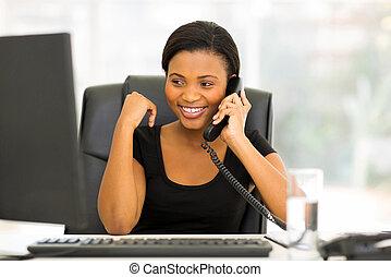telefono, africano, lavoratore, ufficio, parlare