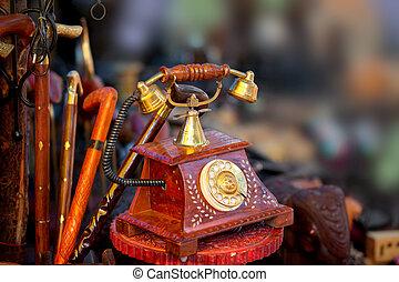 telefono antico, artefatto, e, altro, artigianati, fatto, in, india