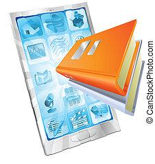 telefono, app, concetto, libro