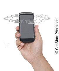 telefono, apps, intorno, far male