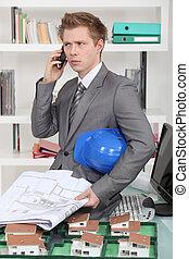 telefono, architetto, infastidito, parlare
