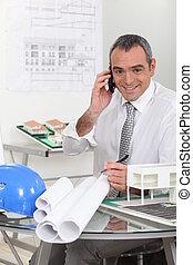 telefono, architetto, parlare