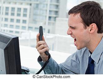 telefono, arrabbiato, lavoratore, ufficio