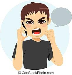telefono, arrabbiato, uomo