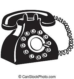 telefono, arte, telefono, clip
