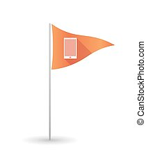 telefono, bandiera, golf, far male