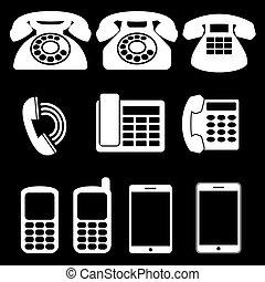 telefono, bianco, icone