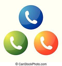 telefono, bottone, icona