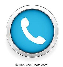 telefono, bottone, vettore, icona