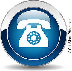 telefono, bottone, vettore