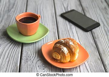 telefono, caffè, uovo, primo piano, colazione