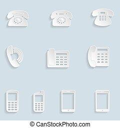 telefono, carta, icone
