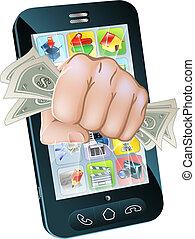 telefono cellulare, concetto, contanti, pugno