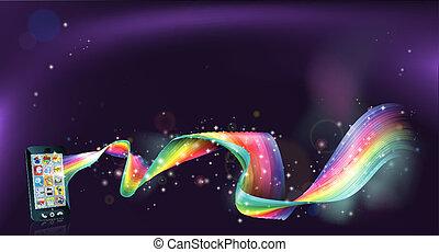 telefono cellulare, fondo, arcobaleno