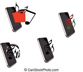 telefono cellulare, musica, ascoltare