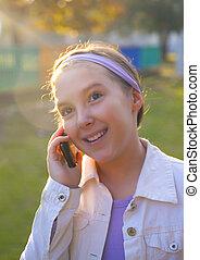 telefono cellulare, ragazza, parlante