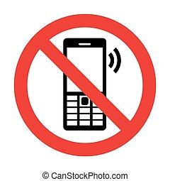 telefono cellulare, vettore, no, segno