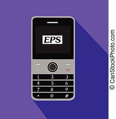 telefono cellulare, vettore, retro