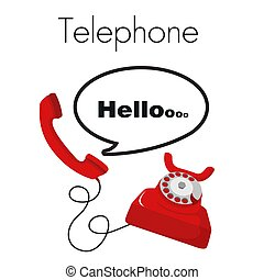 telefono, ciao, telefono rosso, sfondo bianco, vettore, immagine