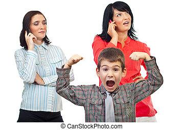 telefono, circa, esasperato, donne, bambino