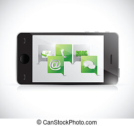 telefono, communication., contattarci, illustrazione