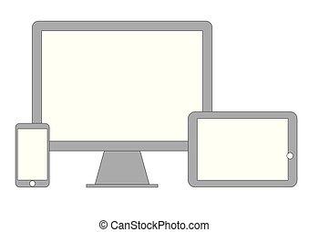 telefono, computer, tavoletta, far male, icona