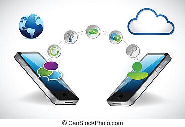 telefono, concept., tecnologia, accessibilità, rete