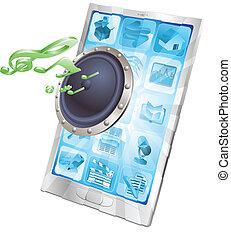 telefono, concetto, altoparlante, icona