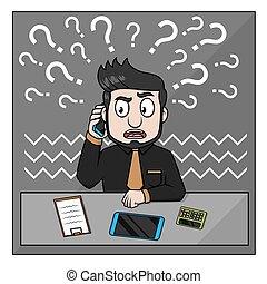 telefono, contatto, confuso, uomo affari