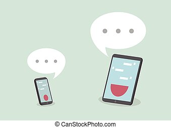 telefono, discorso, far male, tavoletta