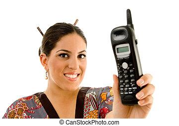 telefono, esposizione, donna, giovane, cordone