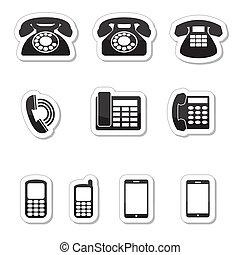 telefono, etichette, icone