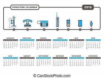 telefono, evoluzione, 2019, calendario