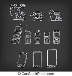 telefono, evoluzione, hand-drawn, illustrazione
