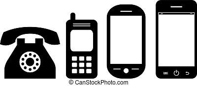 telefono, evoluzione, vettore, icona