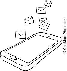 telefono, far male, o, buste, posta elettronica