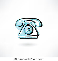 telefono, grunge, icona