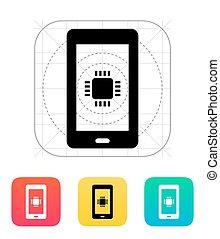 telefono, icon., vettore, cpu, illustration.