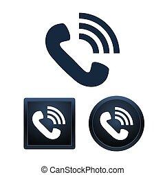 telefono, icona, set, isolato, vettore, illustrazioni