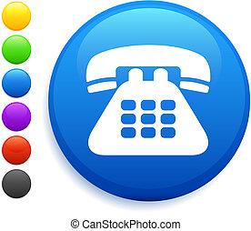 telefono, icona, su, rotondo, internet, bottone