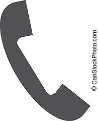 telefono, illustrazione, fondo., vettore, nero, bianco, icona
