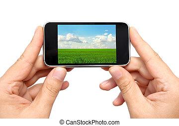 telefono, immagine, uomo, tenere mani