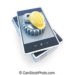telefono, ingranaggio, costruzione, casco