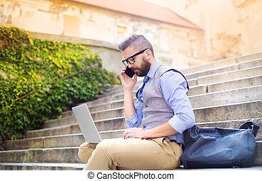 telefono, laptop, hipster, uomo affari