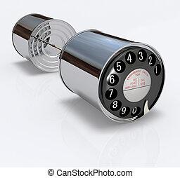 telefono, lattina