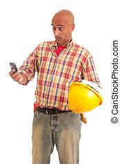 telefono, lavoratore costruzione