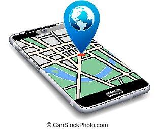 telefono, mappa, puntatore, icona